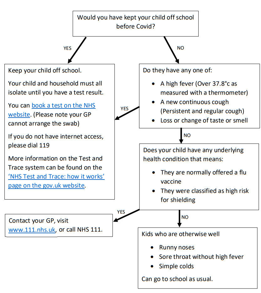 Flow chart to advise when you should and shouldn't send your child to school